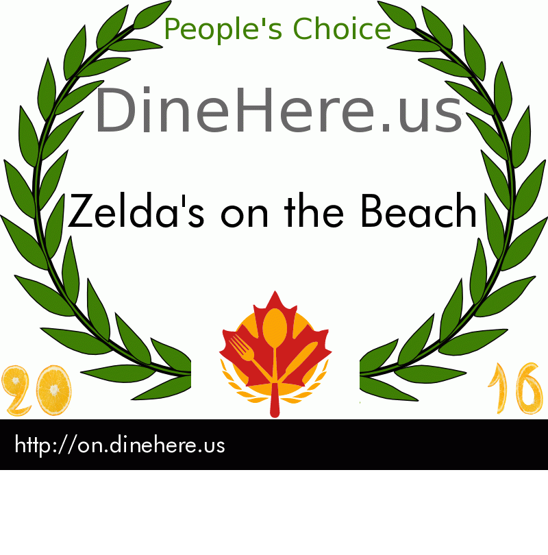 Zelda's on the Beach DineHere.us 2016 Award Winner
